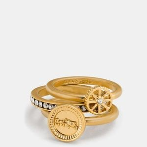 🍒NEW🍒 COACH PAVE GOLD PLATED RING SET